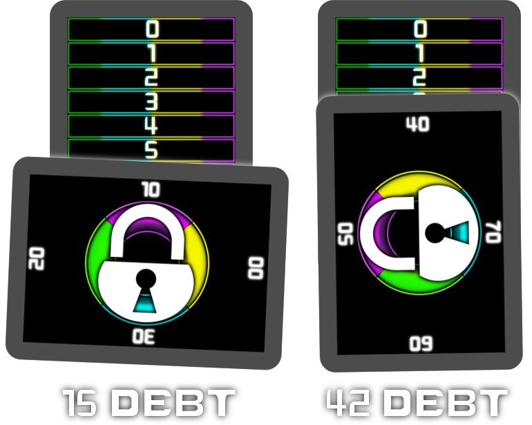 Examples of the Debt Tracker cards in action